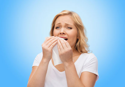 unhappy-woman-with-paper-napkin-sneezing Homeopathy Research: Allergies, Rhinitis and Hayfever