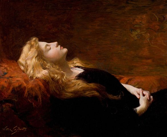 painting of Sleeping-Beauty-by-Victor-Gabriel-Gilbert