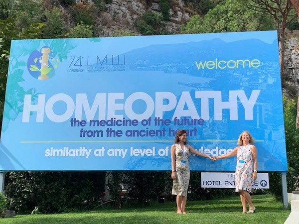 Entrance to the 74th LMHI World Congress of Homeopathy. Pictured Lorena Mattiolo and Jane Lindsay